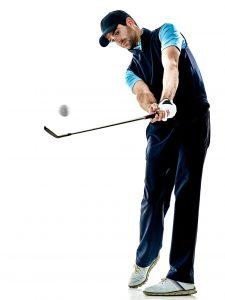 male golfer playing his iron club