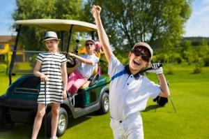 Kids having fun golfing