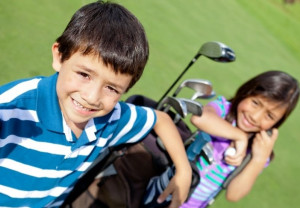 Kids with their own golf clubs