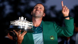 Sergio after his masters win in the green jacket holding trophy